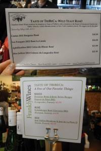 wine tasting menus